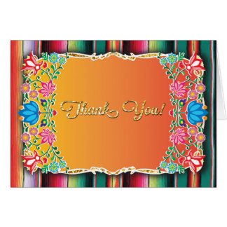 Mexican Fiesta floral glitter thank you note Card