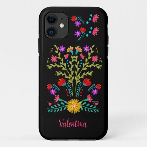 Mexican Fiesta Folk Art Flowers Black Personalized Phone Case
