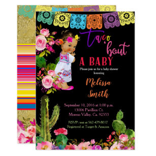 Mexican Fiesta Gold Glitter Baby Shower Invitation
