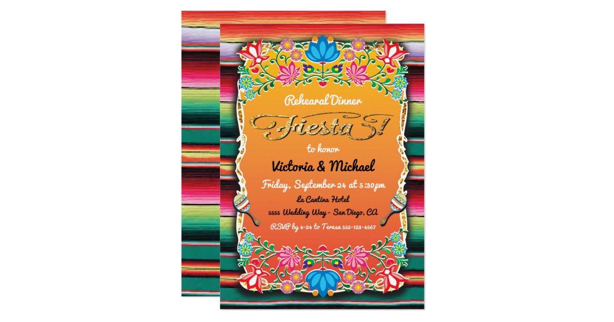 Mexican Fiesta Gold Glitter Rehearsal Dinner Invitation