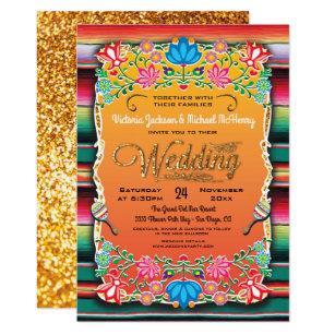 Mexican Fiesta Gold Glitter Wedding Invitation