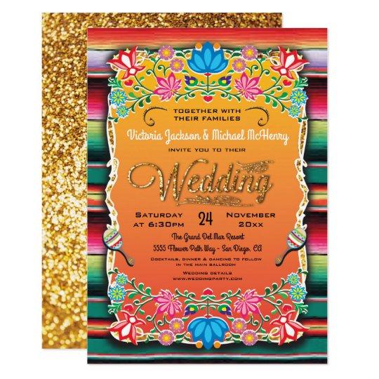 Mexican Fiesta Gold Glitter Wedding Invitation Zazzle Com