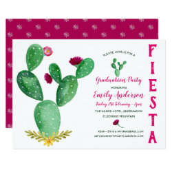 Mexican Fiesta Graduation Invitation Cacti Pink