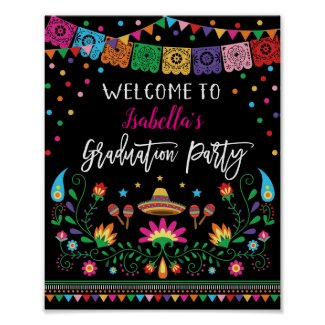 Mexican Fiesta Graduation Party Welcome Poster