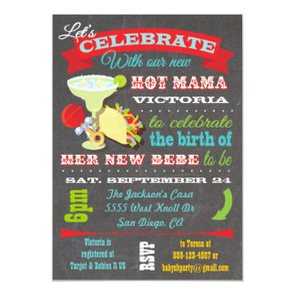 Mexican Fiesta Hot Mama Baby Shower Invitation