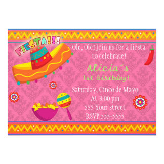 Mexican Fiesta Invitation Birthday Baby Shower