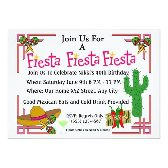 Mexican Fiesta Invites Birthday Party