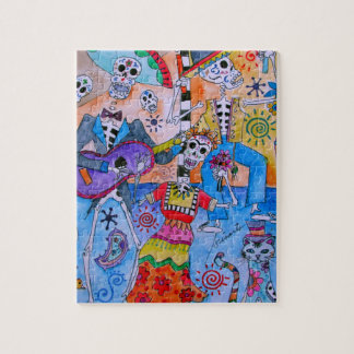 MEXICAN FIESTA Mariachi Cats Calavera Jigsaw Puzzle