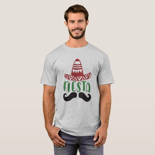 Mexican Fiesta Mustache_Sombrero Design T_Shirt