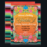 """Mexican Fiesta Party Gold Glitter Card<br><div class=""""desc"""">Colorful Mexican Fiesta Party for a birthday,  retirement,  housewarming,  bridal shower,  baby shower or any Mexican themed event. Features bright papel picado inspired flowers,  faux gold glitter accents,  maracas and an Aztec mexican rug background. Having trouble,  just email me at tkatz@me.com</div>"""