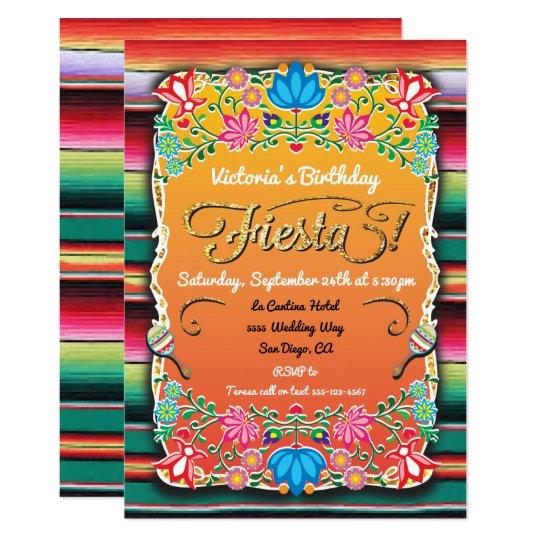 Mexican Fiesta Party Gold Glitter Invitation Zazzlecom