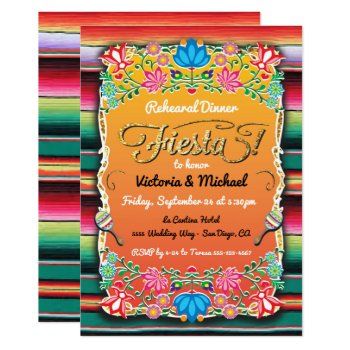 Mexican Fiesta Party Gold Glitter Rehearsal Dinner Card by McBooboo at Zazzle