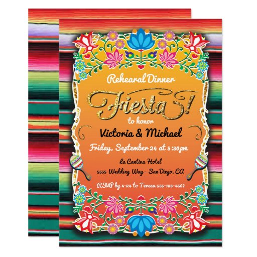 Mexican Fiesta Party Gold Glitter Rehearsal Dinner Invitation