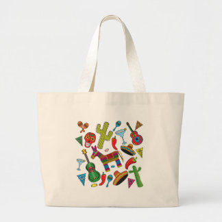 Mexican Fiesta Party Images Large Tote Bag