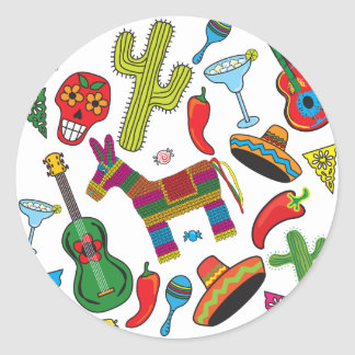 Mexican Fiesta Party Images Round Stickers