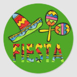 Mexican Fiesta Party Sombrero Maraca Stickers