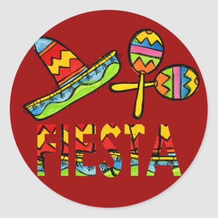 Mexican Fiesta Party Sombrero Maraca Stickers