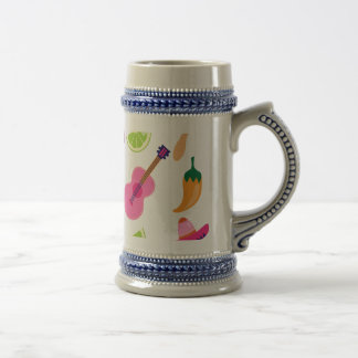Mexican Fiesta Party Sombrero Saguaro Lime Peppers Beer Stein