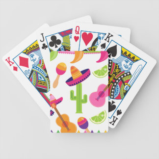Mexican Fiesta Party Sombrero Saguaro Lime Peppers Bicycle Playing Cards