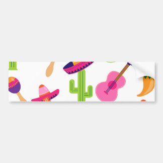 Mexican Fiesta Party Sombrero Saguaro Lime Peppers Bumper Sticker