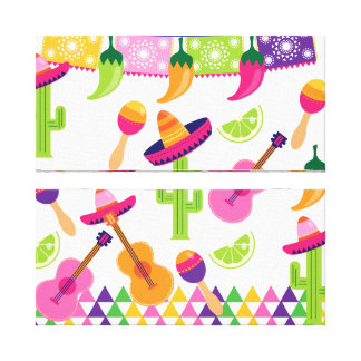 Mexican Fiesta Party Sombrero Saguaro Lime Peppers Canvas Print