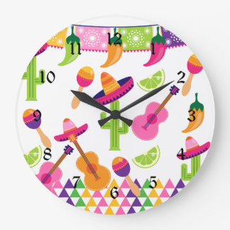 Mexican Fiesta Party Sombrero Saguaro Lime Peppers Clock