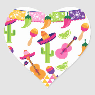 Mexican Fiesta Party Sombrero Saguaro Lime Peppers Heart Sticker