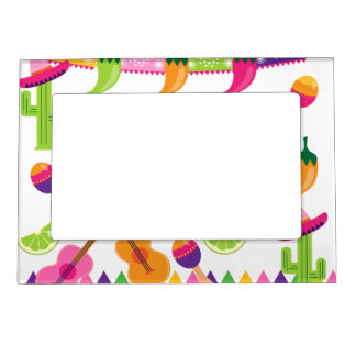 Mexican Fiesta Party Sombrero Saguaro Lime Peppers Magnetic Photo Frames