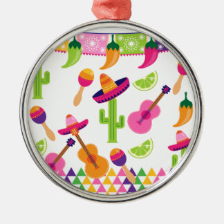 Mexican Fiesta Party Sombrero Saguaro Lime Peppers Metal Ornament