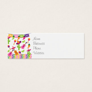 Mexican Fiesta Party Sombrero Saguaro Lime Peppers Mini Business Card