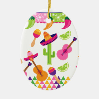 Mexican Fiesta Party Sombrero Saguaro Lime Peppers Double-Sided Oval Ceramic Christmas Ornament