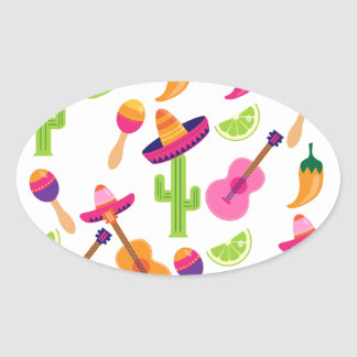 Mexican Fiesta Party Sombrero Saguaro Lime Peppers Oval Sticker