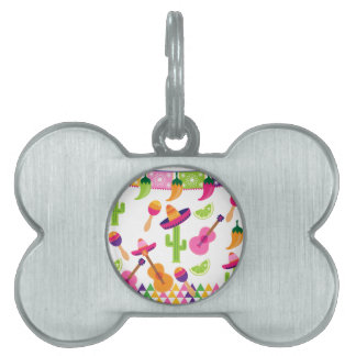Mexican Fiesta Party Sombrero Saguaro Lime Peppers Pet ID Tag