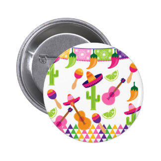 Mexican Fiesta Party Sombrero Saguaro Lime Peppers Pinback Button