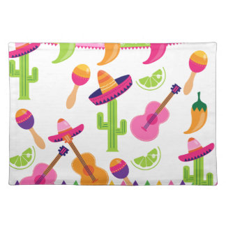 Mexican Fiesta Party Sombrero Saguaro Lime Peppers Placemat