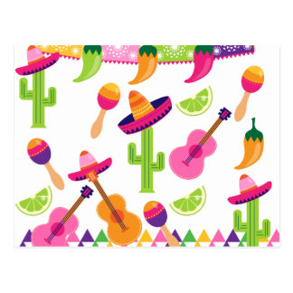 Mexican Fiesta Party Sombrero Saguaro Lime Peppers Postcard
