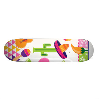 Mexican Fiesta Party Sombrero Saguaro Lime Peppers Skateboard