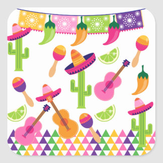 Mexican Fiesta Party Sombrero Saguaro Lime Peppers Square Sticker
