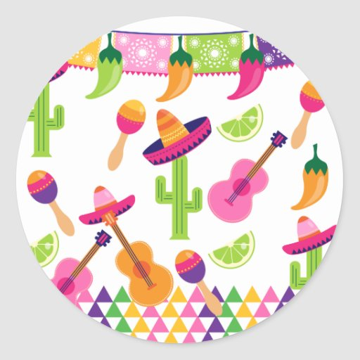 Mexican Fiesta Party Sombrero Saguaro Lime Peppers Stickers