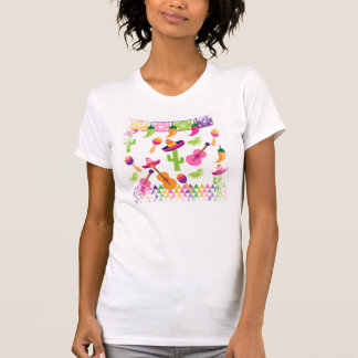 Mexican Fiesta Party Sombrero Saguaro Lime Peppers Tee Shirt