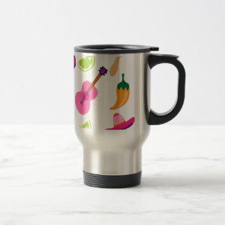 Mexican Fiesta Party Sombrero Saguaro Lime Peppers Travel Mug