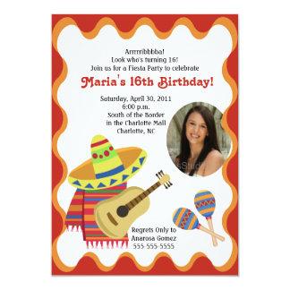 MEXICAN FIESTA PHOTO BIRTHDAY INVITATIONS