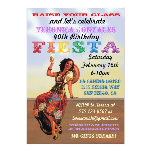 Mexican Fiesta PIn up Birthday Party Invitations