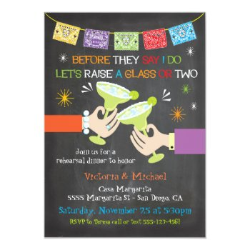 Mexican Fiesta Rehearsal Dinner Chalkboard Card by McBooboo at Zazzle
