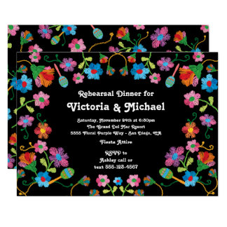 Mexican Fiesta Rehearsal Dinner with embroidery Card