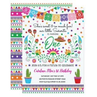 Mexican Fiesta Senorita 1st Birthday Party Invite