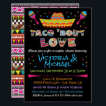 "Mexican Fiesta taco bout love couples shower Invitation<br><div class=""desc"">Mexican Fiesta Taco'bout Love couples shower or engagement party invitations. Features a colorful sombrero,  maracas and aztec designed fonts. Great for a Mexican themed Rehearsal Dinner,  shower etc.  Hand drawn illustration by McBooboo's Need help just contact me with the link to tkatz@me.com</div>"
