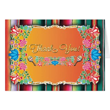 Aztec Themed Mexican Fiesta Thank you note card faux glitter