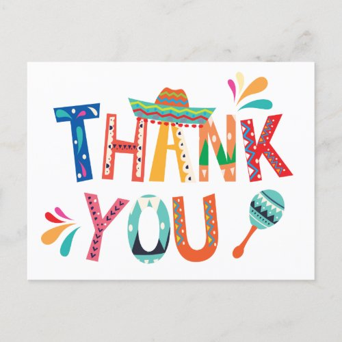 Mexican FIesta Thank You note Postcard