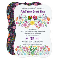 Mexican Fiesta Watercolor Folk Flower Invitations